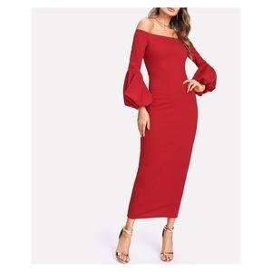 Red Off the Shoulder Lantern Sleeve Long Dress